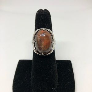 Silver and brown stone costume ring